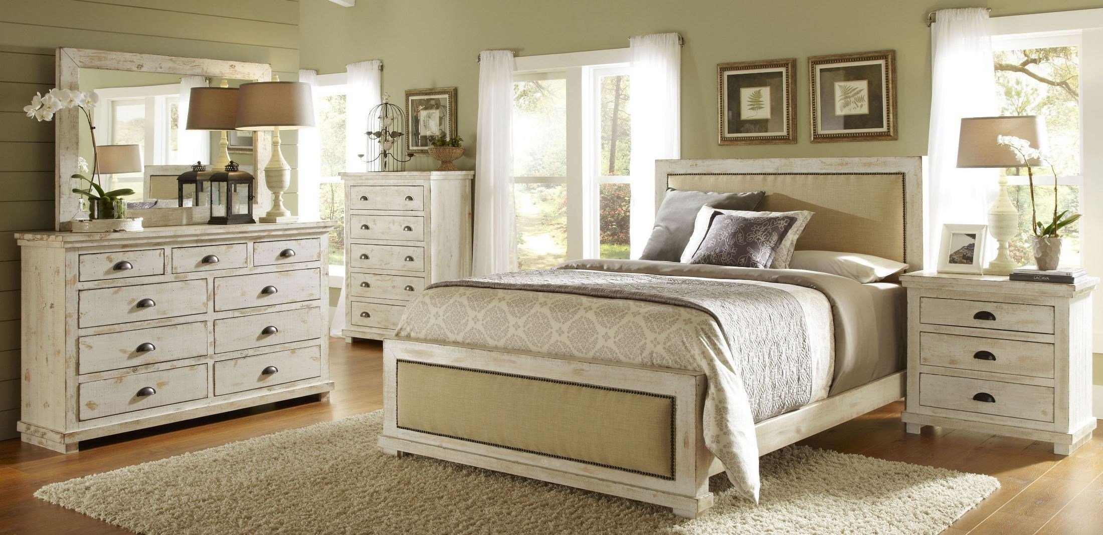 Best Willow Distressed White Upholstered Bedroom Set From With Pictures