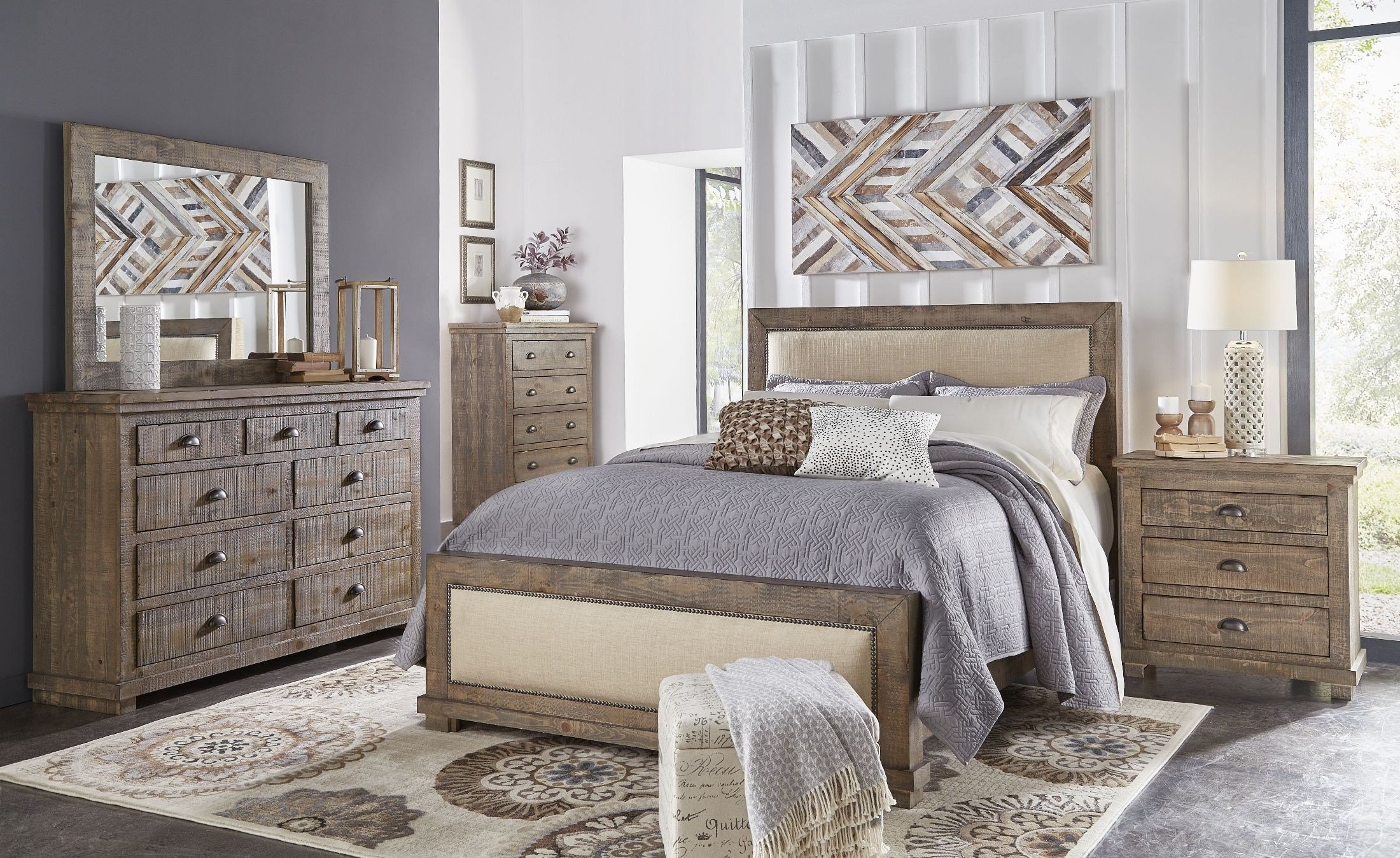 Best Willow Weathered Gray Upholstered Bedroom Set From With Pictures
