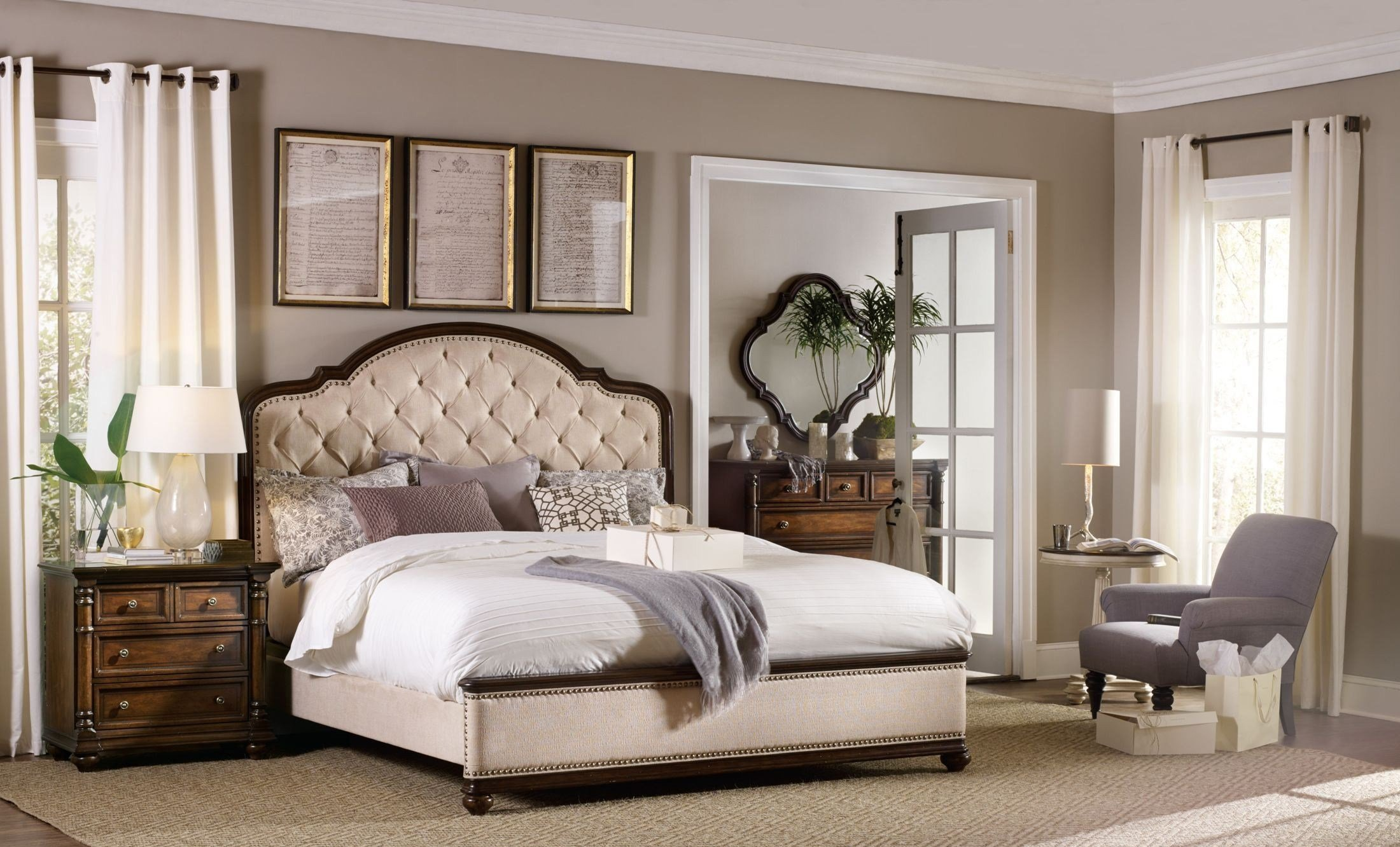 Best Leesburg Beige Upholstered Bedroom Set From H**K*R With Pictures