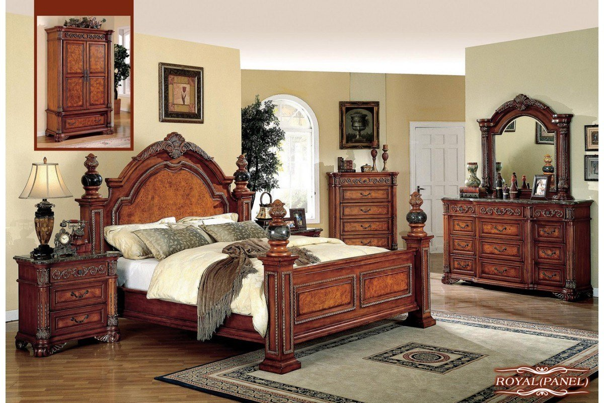 Best Bedroom Sets Royal Panel King Size Bedroom Set Newlotsfurniture With Pictures