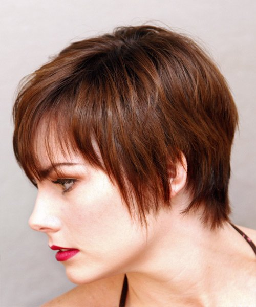 Free Casual Short Straight Hairstyle Auburn Brunette Hair Color Wallpaper