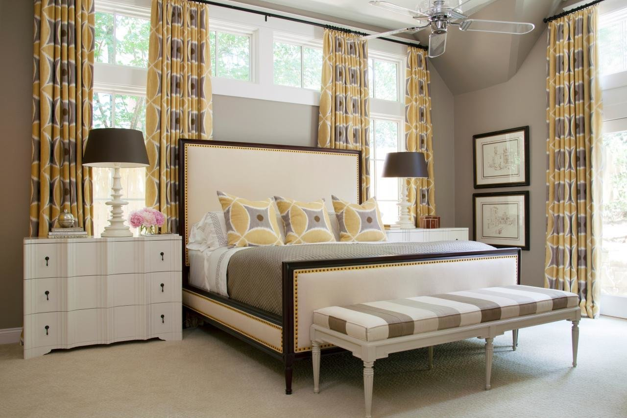 Best Gray And White Contemporary Bedroom With Yellow Curtains With Pictures
