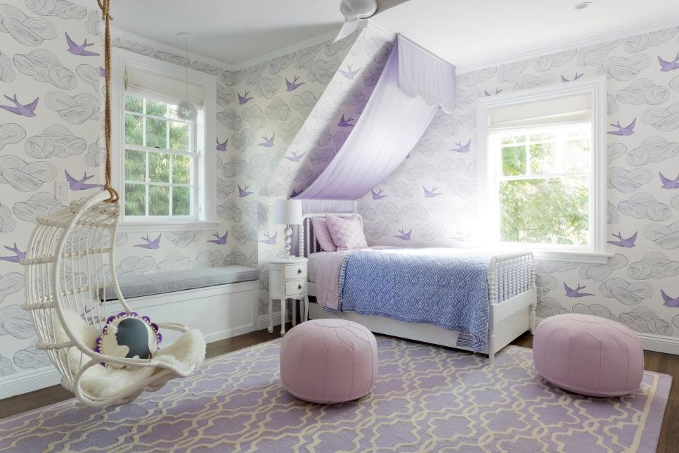 Best Girl S Purple And White Bedroom With Window Seat 2017 With Pictures