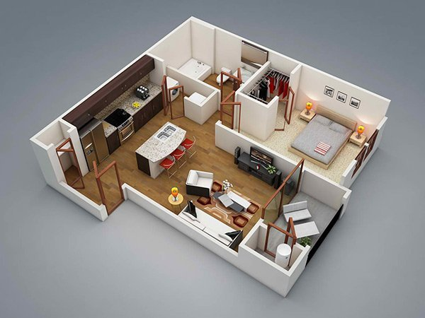 Best 20 One Bedroom Apartment Plans For Singles And Couples With Pictures