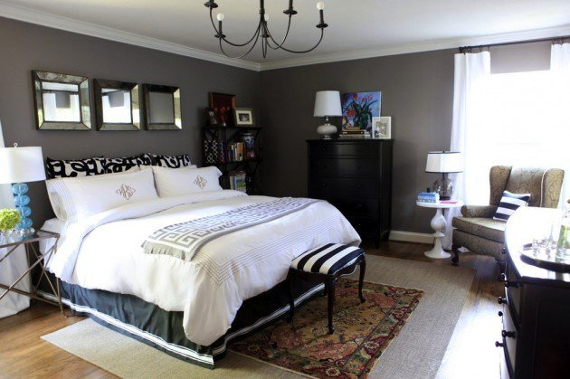 Best Bedroom Decorating Painted Charcoal Gray Walls0White Bedding Black Dresser Decorating Ideas With Pictures