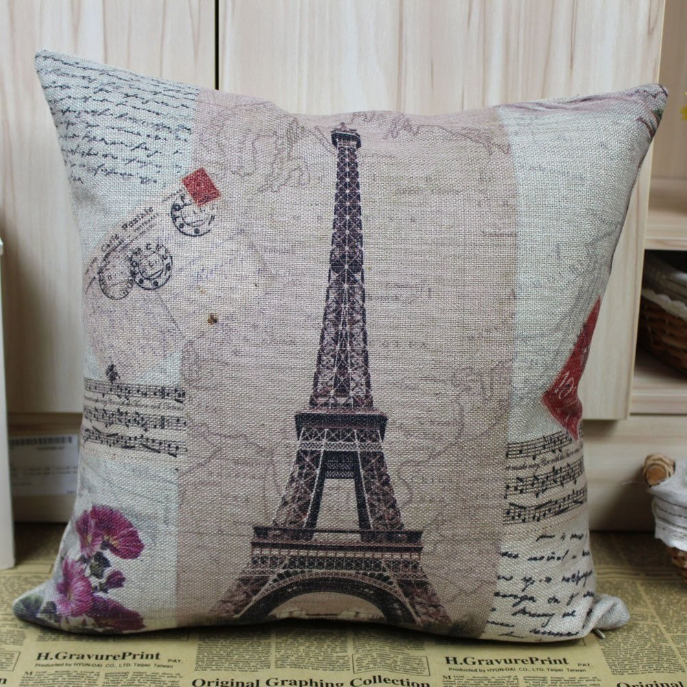 Best France Paris Eiffel Tower Music Sheet Cushion Cover With Pictures