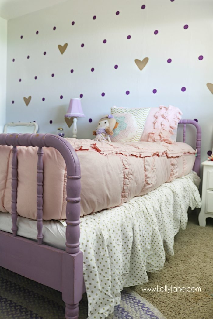Best Little Girl Purple Gold Bedroom Makeover Lolly Jane With Pictures
