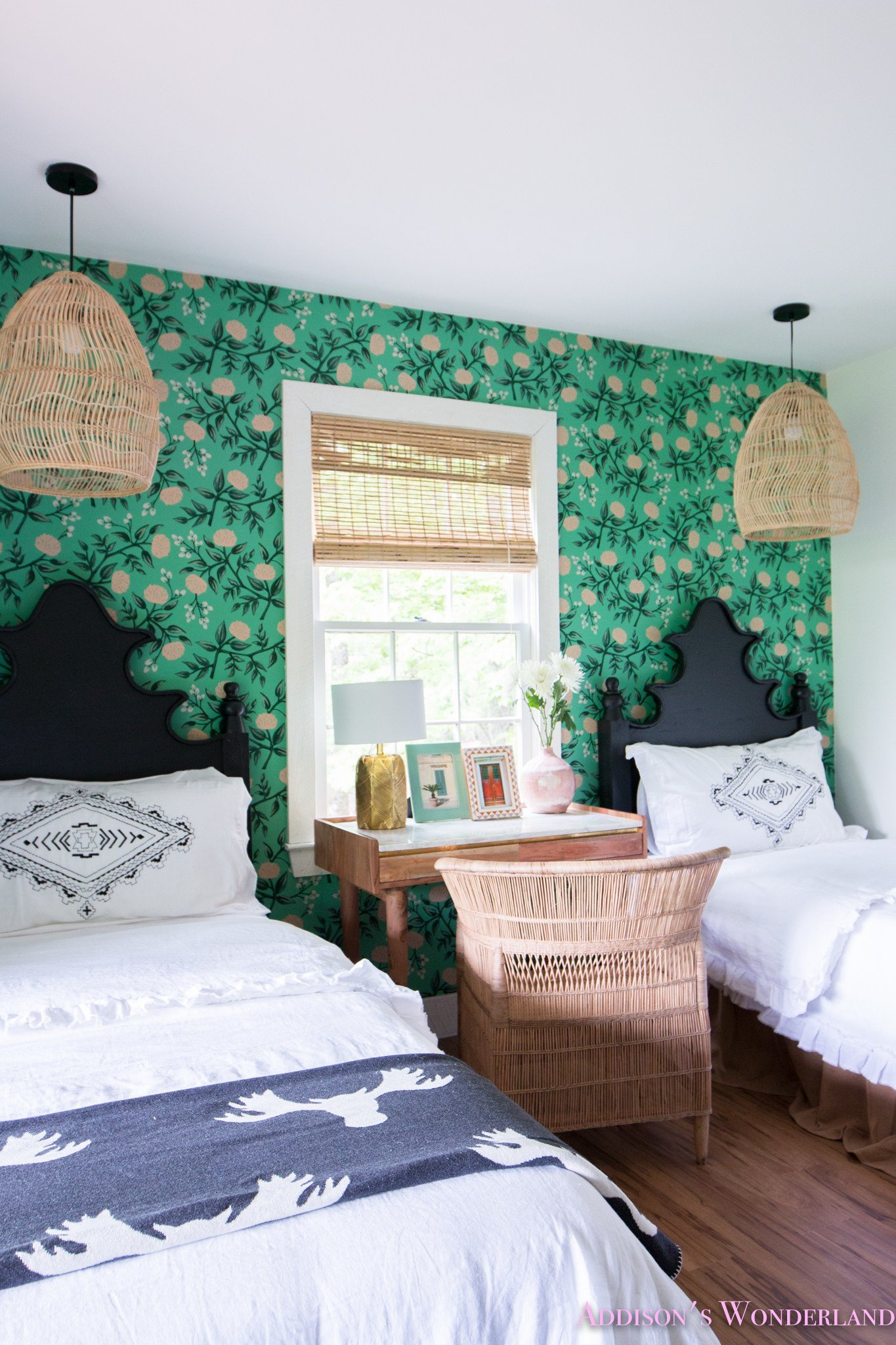 Best Our Green Poppies Wallpaper Cabin Guest Bedroom Reveal With Pictures