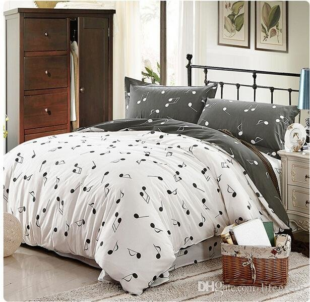 Best Wholesale 100 Cotton Modern Pink Grey Music Note Bedding With Pictures