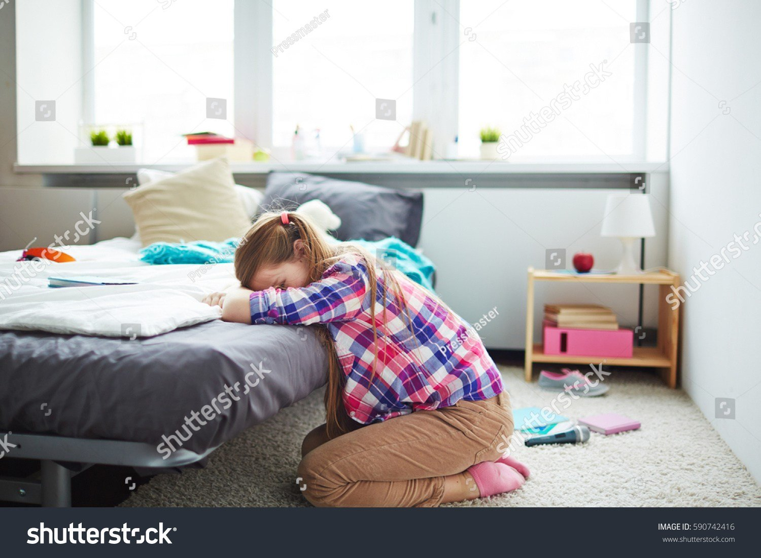 Best Sad T**N Girl Sitting On Carpet Stock Photo 590742416 With Pictures