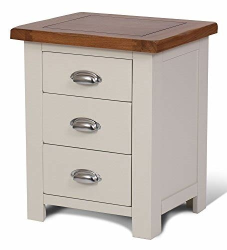 Best Ascot Oak 3 Drawer Bedside Table Oak And Stone White With Pictures