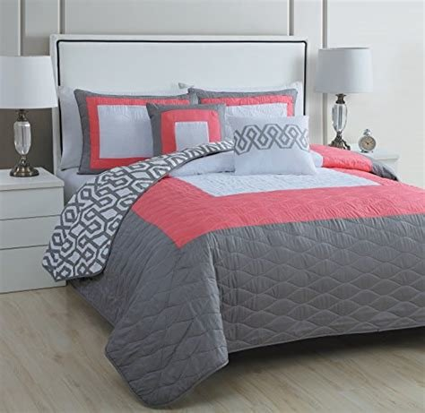 Best Coral And Gray Bedding Amazon Com With Pictures