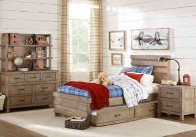 Best Montana Driftwood 5 Pc Twin Panel Bedroom T**N Bedroom Sets Light Wood With Pictures