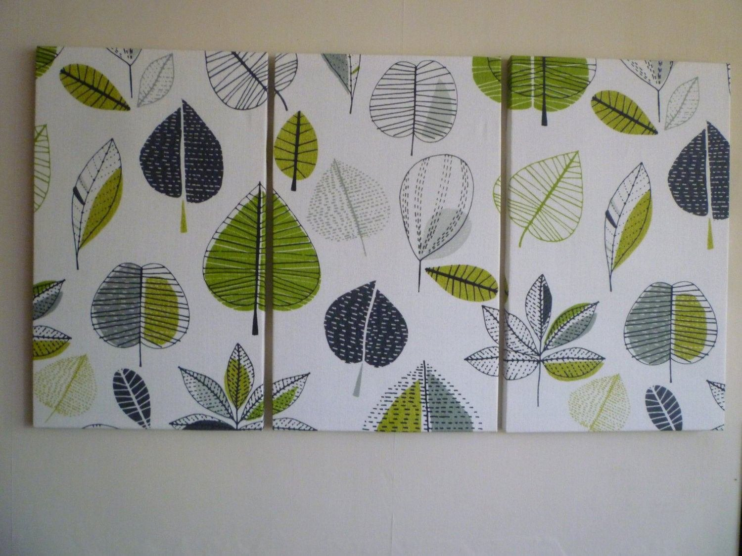 Best Big Lime Green Fabric Wall Art Funky Retro Designer Cotton With Pictures