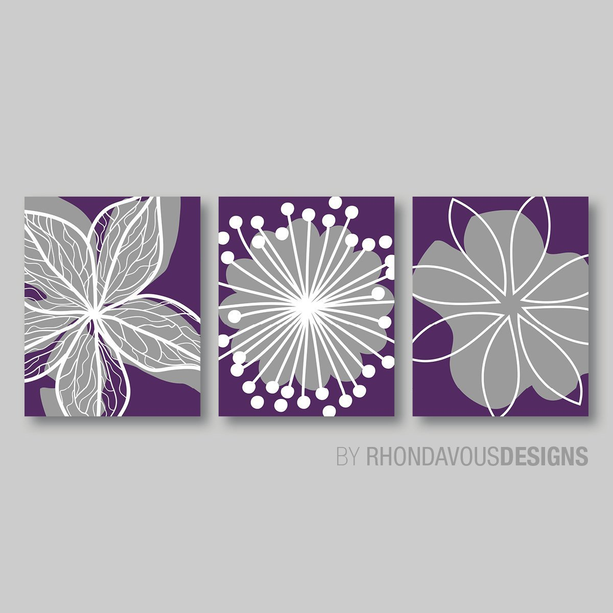 Best Purple Flower Print Trio Home Petals Bloom Wall Art Bedroom With Pictures