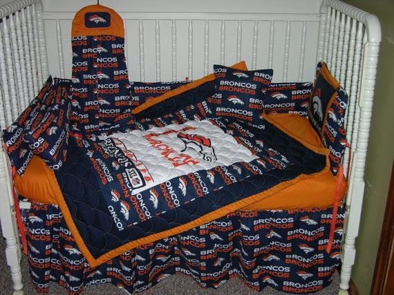 Best New Nursery Crib Bedding Set M W Denver Broncos Fabric With Pictures