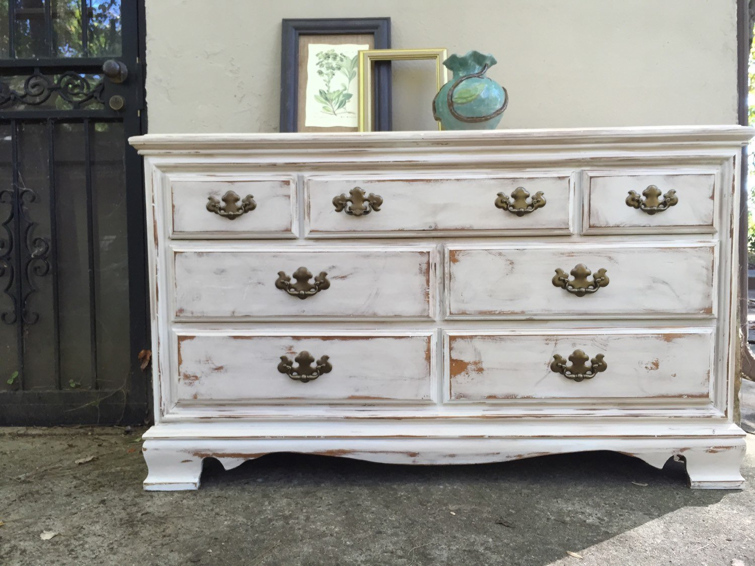 Best Painted Dresser Distressed Antiqued Sideboard Bedroom White With Pictures