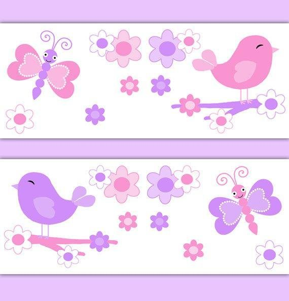 Best Girl Nursery Decor Butterfly Chickadee Bird Wallpaper Border With Pictures