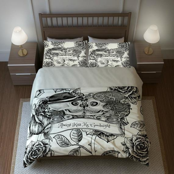 Best Skull Bedding Sugar Skulls Duvet Cover Comforter By Folkandfunky With Pictures