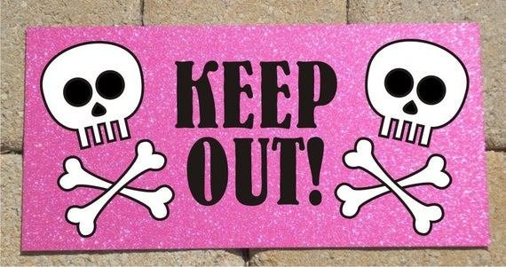 Best Metal Sign Skull And Crossbones Keep Out Pink Sparkle With Pictures