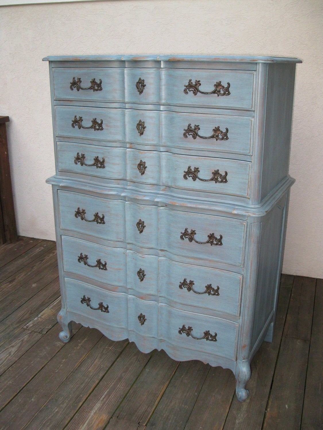 Best Chic And Shabby Blue Grey Tall Dresser Or Bedroom Set With Pictures