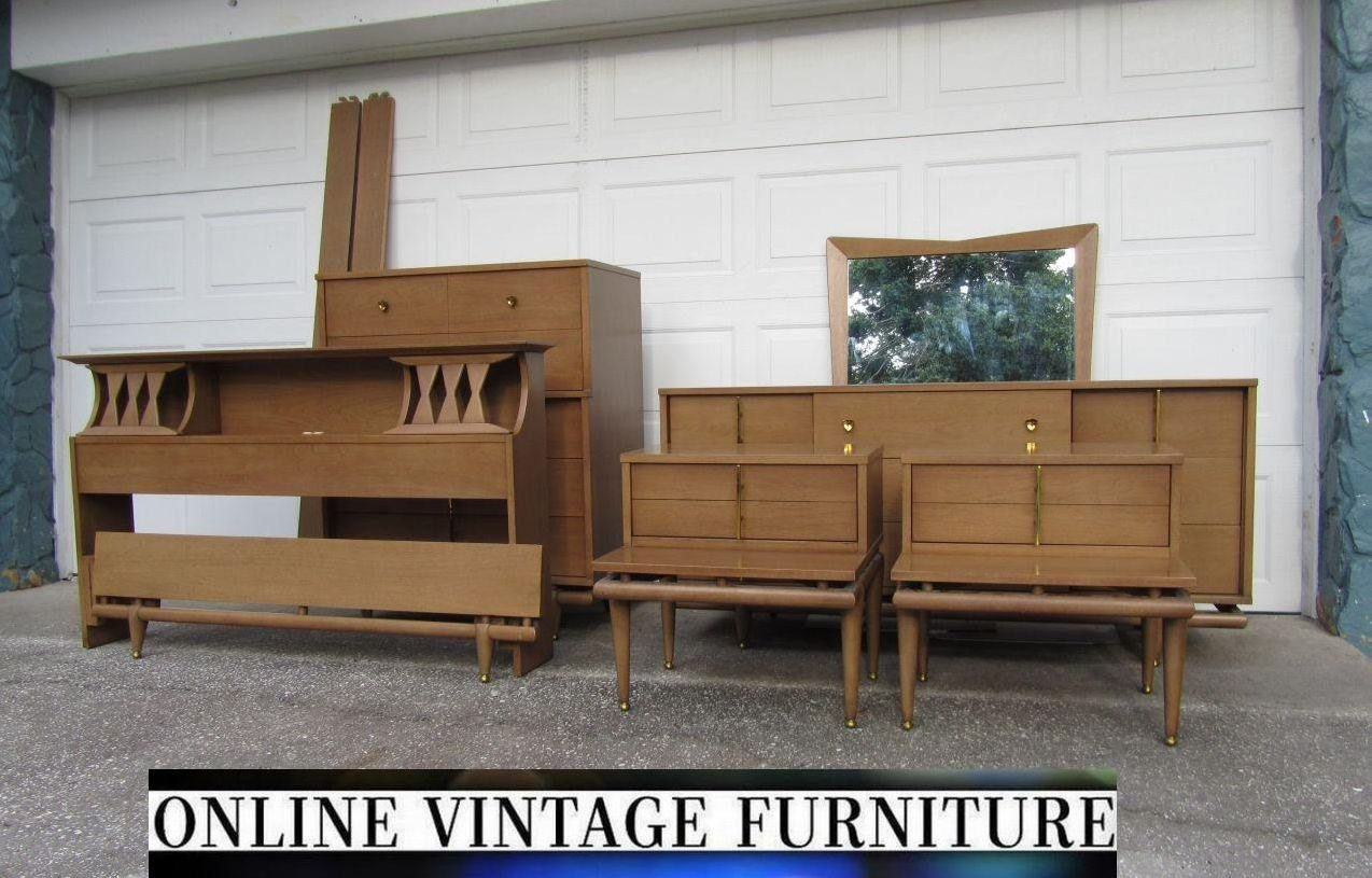 Best Rare 1950S Bedroom Set Kent Coffey Sequence Dresser Credenza With Pictures