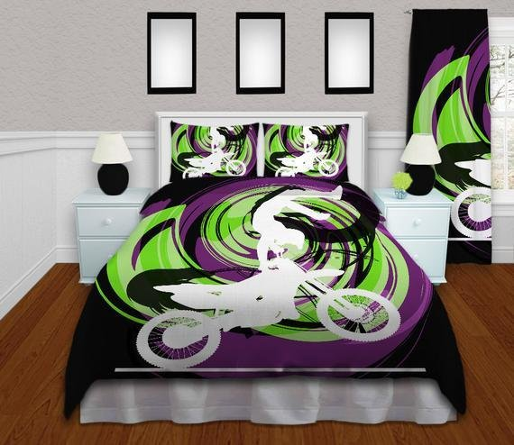 Best Motocross Bedding For Boys In Black Green By With Pictures