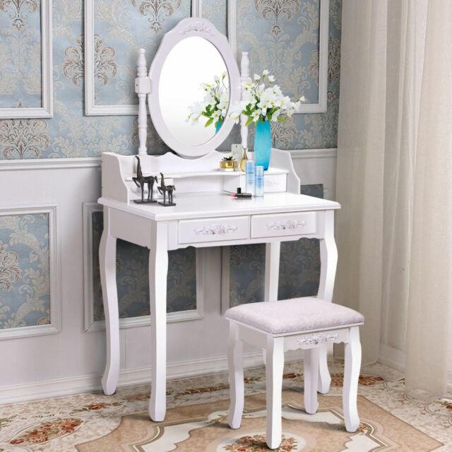 Best White Vanity Wood Makeup Dressing Table Stool Set Bedroom With Pictures