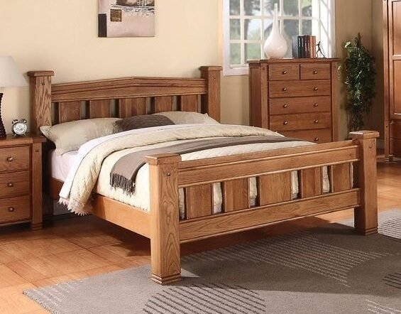 Best Michidean 5 King Size Solid Natural Oak Bed Frame Ebay With Pictures