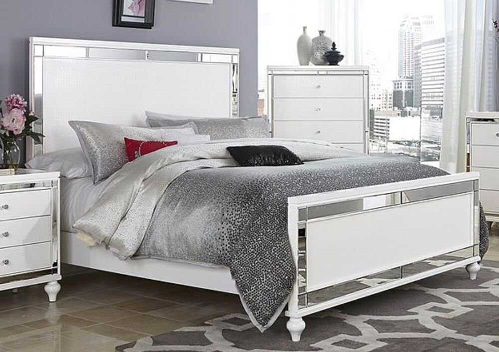 Best Glitzy 4 Pc White Mirrored King Bed N S Dresser Mirror Bedroom Furniture Set Ebay With Pictures