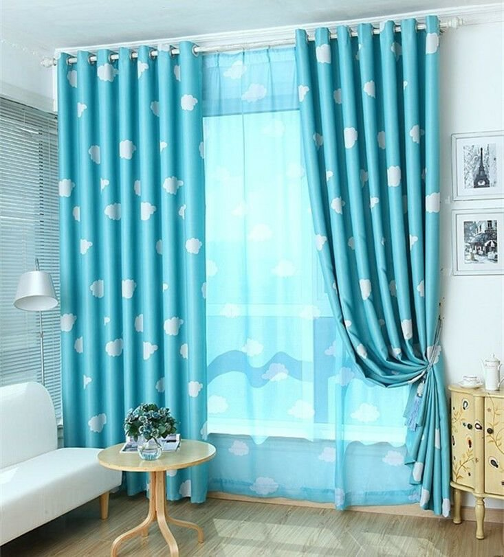Best Blockout Blackout Eyelet Curtains Blue Drapes Kids Baby With Pictures