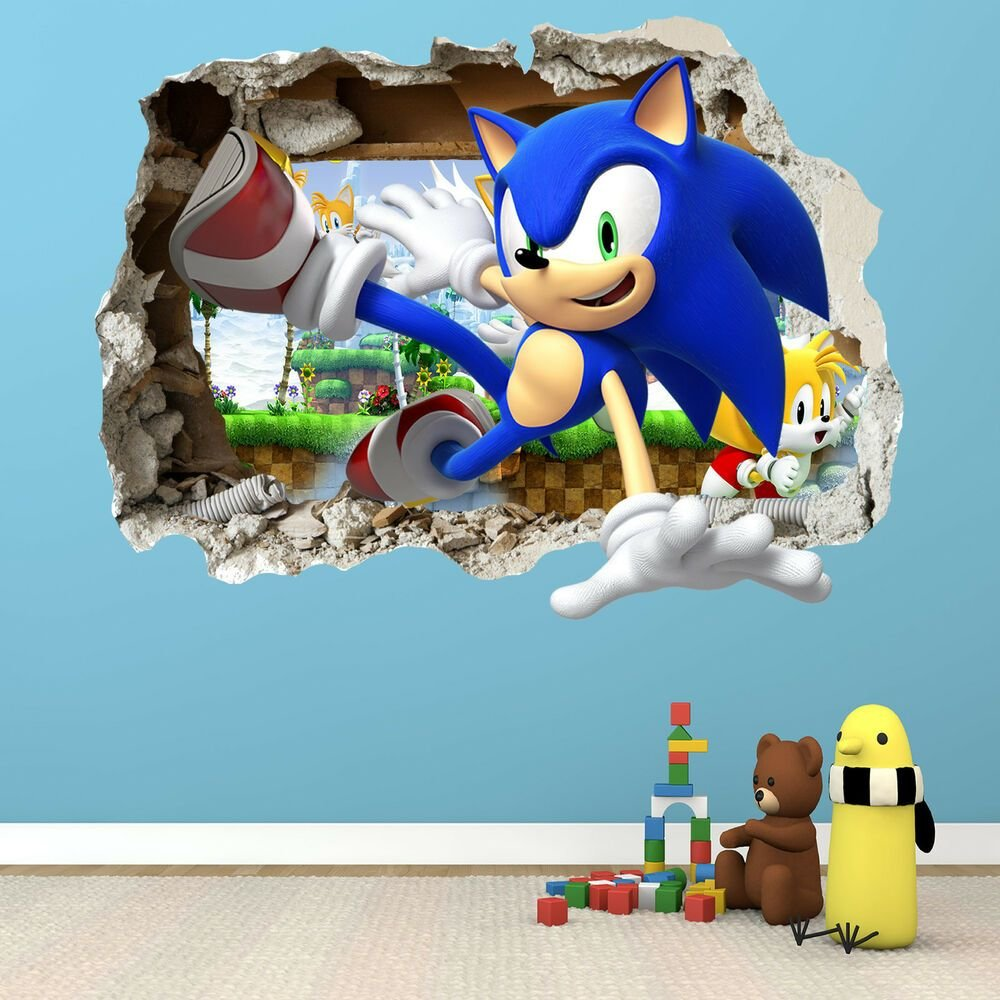Best Sonic The Hedgehog Smashed Wall Sticker Bedroom Boys Girls Vinyl Wall Art Ebay With Pictures