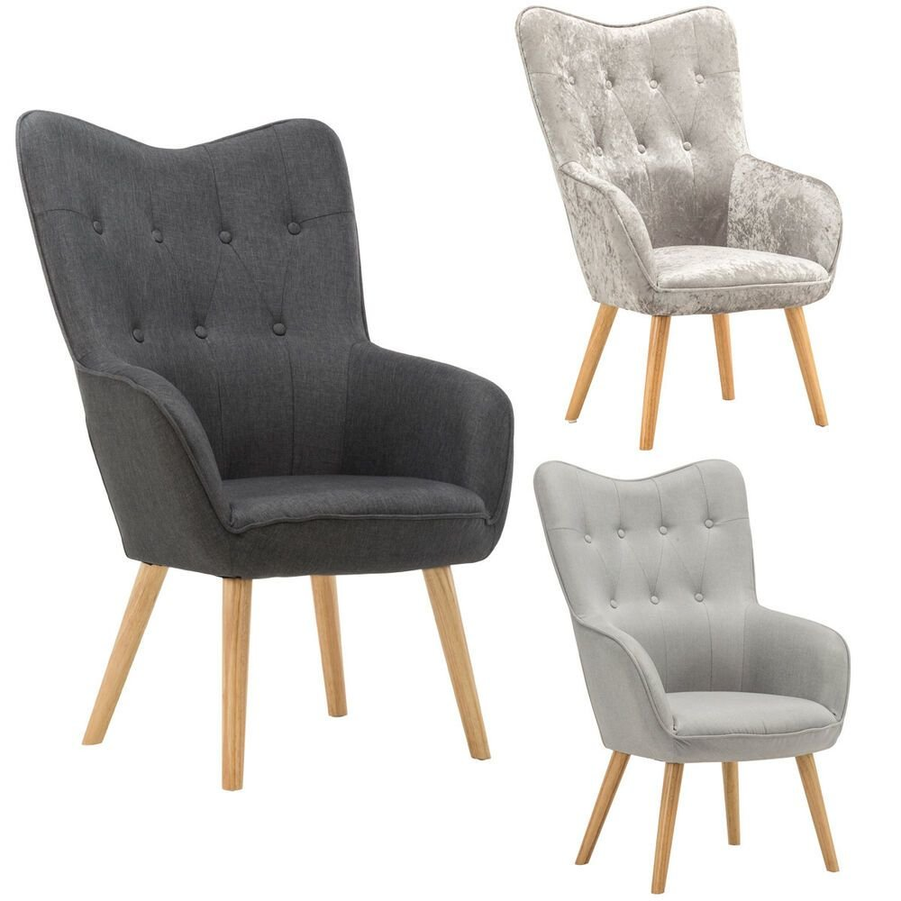Best Modern Wingback Occasional Accent Chair Armchair Silver Velvet Grey Fabric Ebay With Pictures