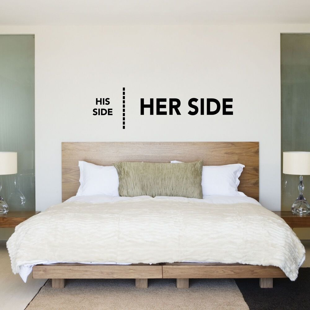 Best His Side Her Side His Hers Bedroom Wall Sticker Decal With Pictures