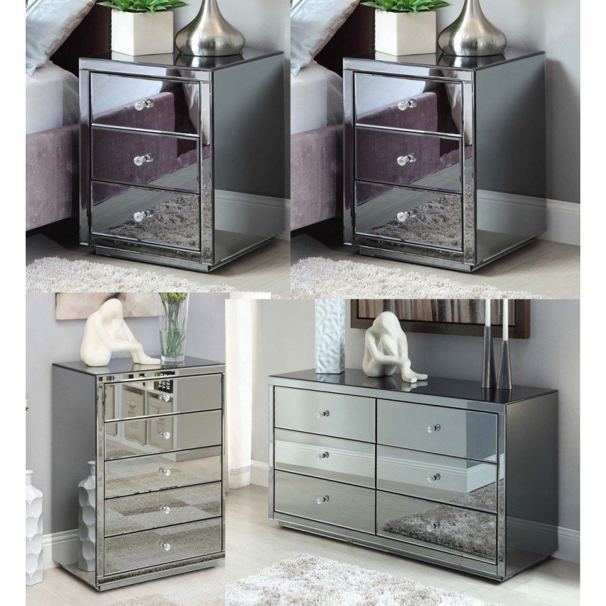 Best Vegas Smoke Mirrored Bedside Tables Dresser Tallboy Package With Pictures
