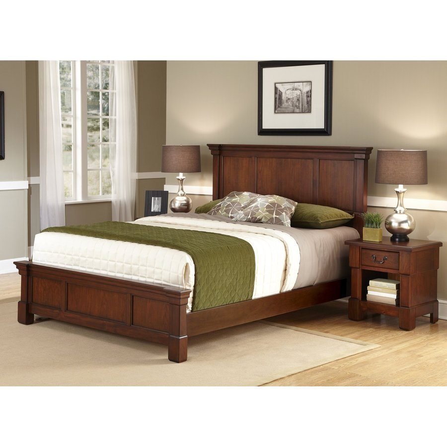 Best Shop Home Styles Aspen Rustic Cherry King Bedroom Set At With Pictures
