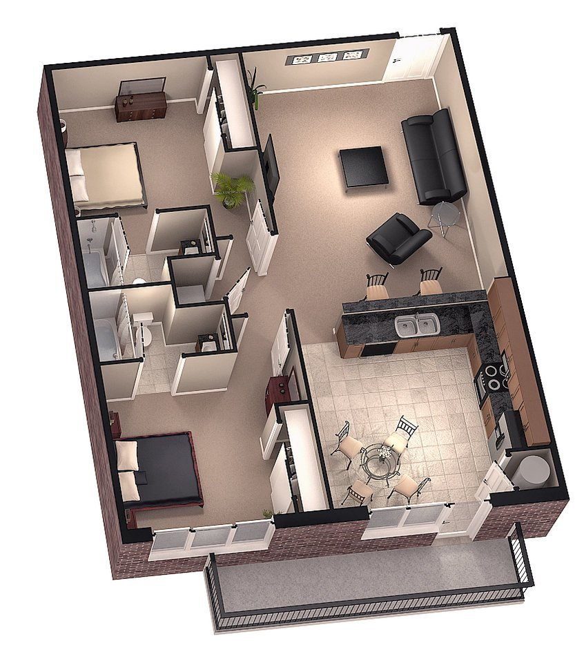 Best Excellent 3D Floorplan Designs Model Rendering With Pictures