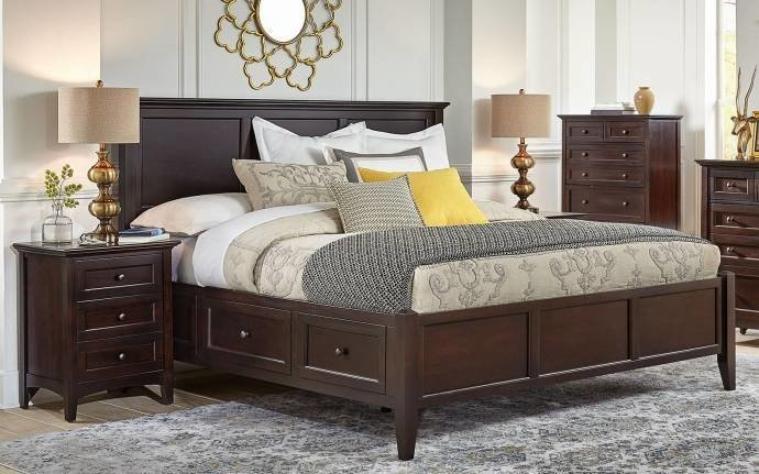Best King Storage Bedroom Set 6Pcs Dark Mahogany Wsldm5191 A With Pictures