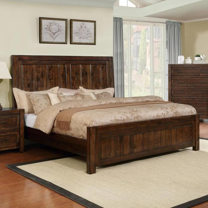 Best Crown Mark Boulder Rustic Dark Brown Finish Solid Wood King Size Bedroom Set 5Pcs B1900 Ek Set With Pictures