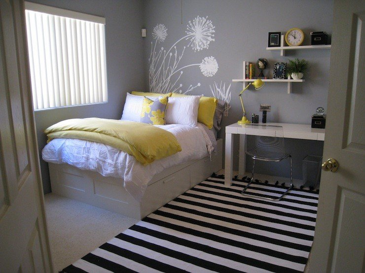 Best Yellow And Gray Bedroom Contemporary Bedroom Benjamin Moore Pigeon Gray With Pictures