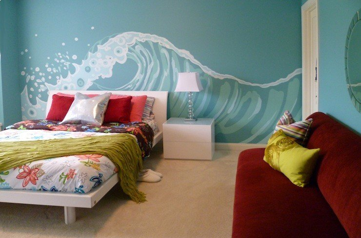 Best White Platform Bed Contemporary Girl S Room Sherwin Williams Holiday Turquoise Full Nest With Pictures