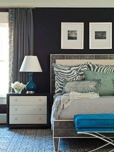 Best Peacock Blue Ottoman Contemporary Bedroom Brian With Pictures