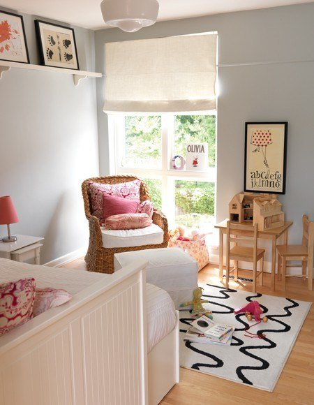 Best Blue Gray Paint Contemporary Girl S Room Farrow With Pictures