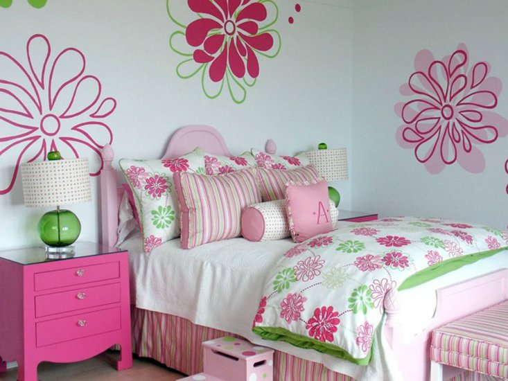 Best Pink And Green Girl S Bedding Contemporary Girl S Room Lucy And Company With Pictures
