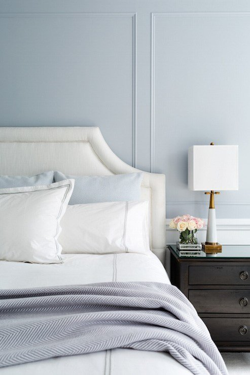 Best Blue And Gray Bedroom Design Transitional Bedroom With Pictures