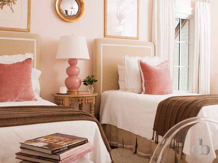 Best Blush Pink Headboard With White And Gray Bedding With Pictures
