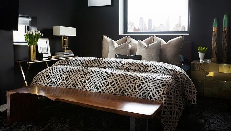 Best Black Bedrooms With Gold Accents Contemporary Bedroom With Pictures