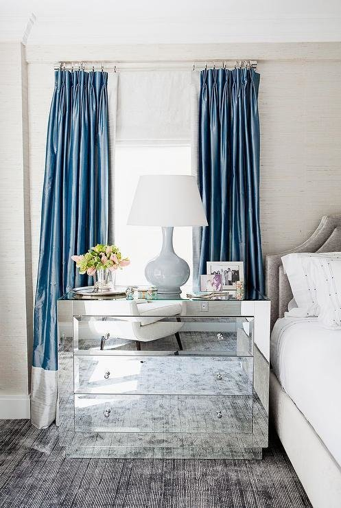 Best Blue And Gray Curtains Transitional Bedroom With Pictures