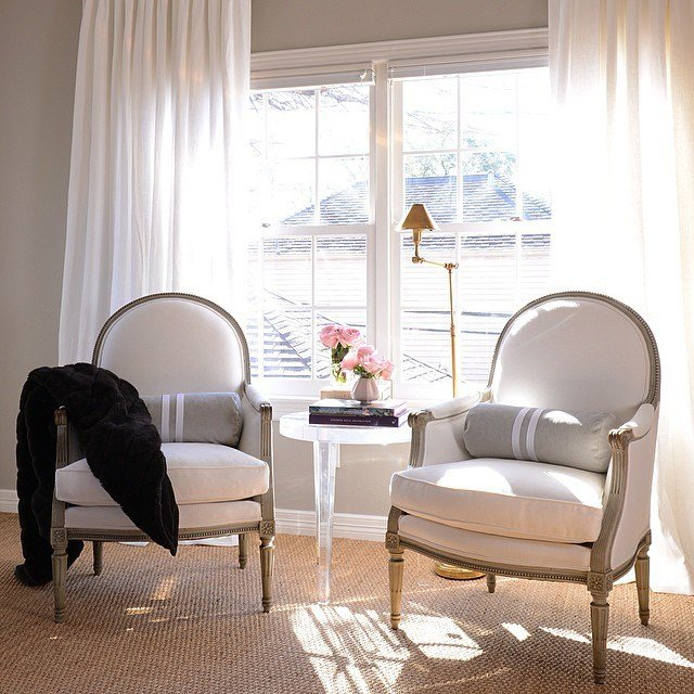 Best Gray French Chairs With Black Cowhide Rug Transitional With Pictures