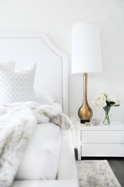 Best White Bedroom With Gold Accents Transitional Bedroom With Pictures